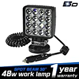 LEMIL 48W 5D Lens LED Work Light 12V Spot Light Driving Fog Light Off Road Spot Beam Lamp Boat Light with Magnetic Base Waterproof Emergency Light for Truck SUV 12V 24V Searchlight