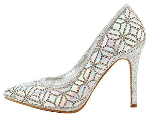 Jjf Chaussures Femmes Nacré Scintillant Paillettes Bout Pointu Talon Aiguille Robe Formelle Pompes Argent