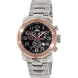 Swiss Precimax Men's SP13020 Marauder Pro Black Dial with Silver Stainless Steel Band Watch