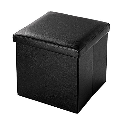 B FSOBEIIALEO Storage Ottoman With Faux Leather Foldable Small Square Foot Rest Stools Coffee Table Black 15