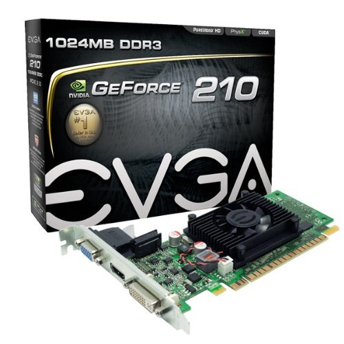 EVGA GeForce 210 1024 MB DDR3 PCI Express 2.0 DVI/HDMI/VGA Graphics Card, 01G-P3-1312-LR (Renewed)