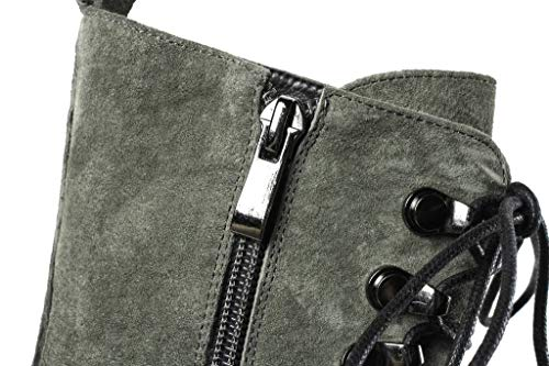 Plate Martin Femme SimpleC Rond en Boots Bout Ancien Combat Bottes Vert Zip Bottines Forme de latéral wFqBYq