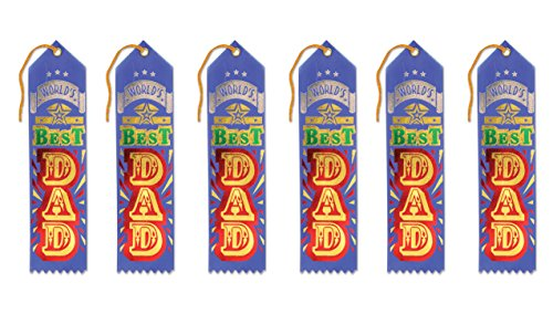 Awards Navy Ribbon - Beistle AR121N World's Best Dad Award Ribbons, 2 by 8-Inch, 6-Pack