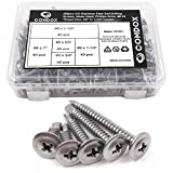 "Comdox 410 Stainless Steel Self Drilling Screws Kit Set, Wafer Head Phillips Sheet Metal Tek Screws Assortment Kit, Modified Truss Head, 8-18 Thread Size, 5/8"" to 1-1/2"" Length (Pack of 200)"