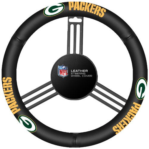 Fremont Die NFL Green Bay Packers Leather Steering Wheel Cover