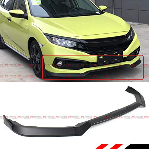 Fits for 2019-2020 Honda Civic LX EX EX-L Touring Sport Coupe and Sedan Black 3 Pieces JDM Style Front Bumper Lip Spoiler Splitter