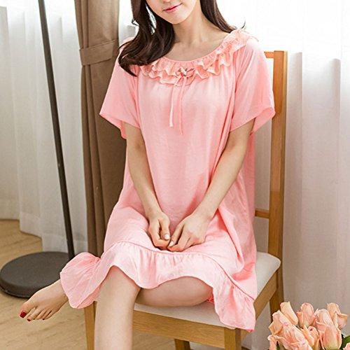 Cotton Sleeve Long Sleepwear Women's Premium Quality Nightgown Pink Zhuhaitf XwBAaO