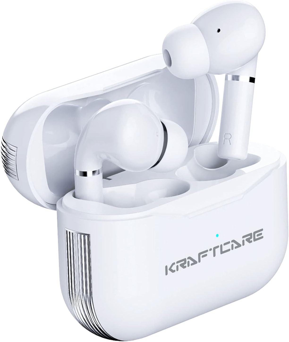 KRAFTCARE Auriculares inalámbricos Bluetooth V5.1, TWS Auriculares Deportivos, Carga Rápida USB-C, Control Táctil, reproducción de 30 Horas, Micrófonos duales y IPX7 a Prueba de Agua
