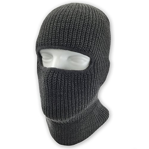 Double Layered Knitted One Hole Ski Mask - Assorted Colors Tactical Paintball Running (Charcoal)