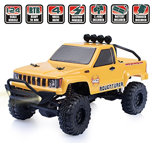 Mini Rock Crawler (RGT RC Crawlers Car RTR 1/24 Scale 4wd Off Road Monster Rock Crawler 4x4 Mini RC Truck with LED Lights)