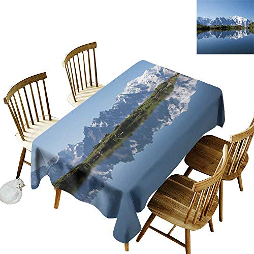 - W Machine Sky Wrinkle Resistant Tablecloth Lake Mont Blanc Mountain Range Reflected in Cheserys Lake Alps France Panorama W54 xL90 for Family Dinners,Parties,Everyday Use