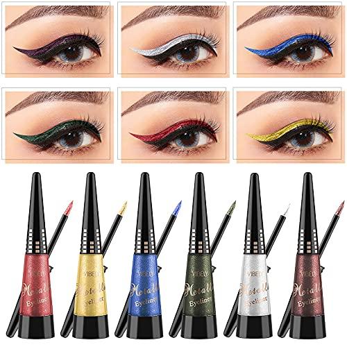 Glitter Color Liquid Eyeliner - 6 Colors Liquid Eyeliner Waterproof Long Lasting Liquid Colorful Eye Liner Pen 10ml (Green)