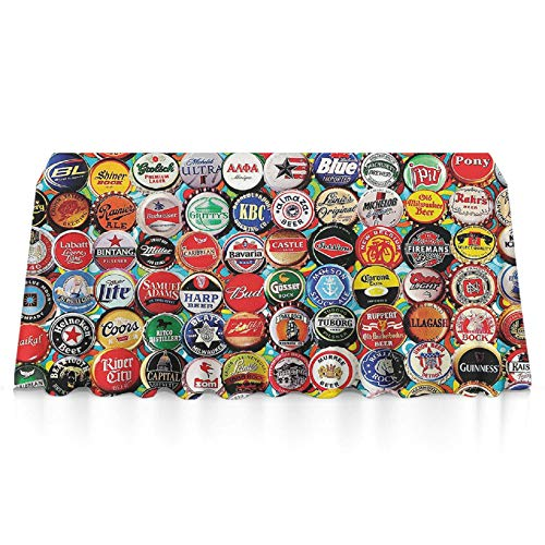 JACINTAN Tablecloth Dust-Proof Table Cover for Kitchen Dinning Tabletop Decoration (Rectangle/Oblong, 60x90 Inch, World Beer Bottle caps Set)