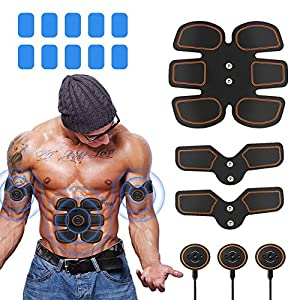Abs Stimulator Muscle Toner, Portable Muscle Trainer, Abdominal Toning Belt Ultimate Abs Stimulator for Men Women, Work Out Power Fitness ABS Abdominal Trainer with 6 Modes & 9 Levels Operation-Black