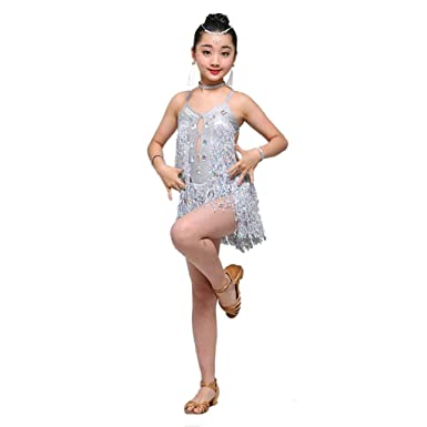 Uioy-Falda de baile niña Brillante diamante con flecos traje de ...