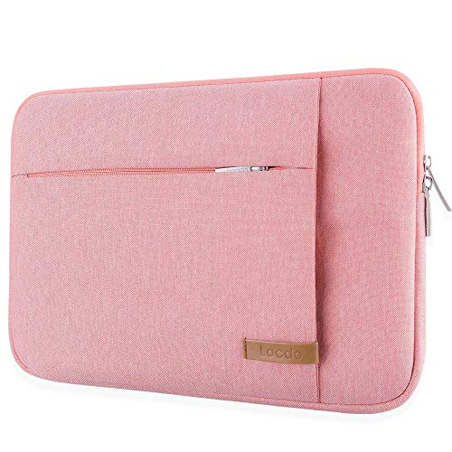 Lacdo 15 Inch Water Resistant Laptop Sleeve Case Compatible New 15 MacBook Pro Touch Bar 2018-2017 (A1190 A1707) | 15.4 Inch MacBook Pro Retina 2012-2015 | Dell Inspiron 14, Notebook Bag, Pink