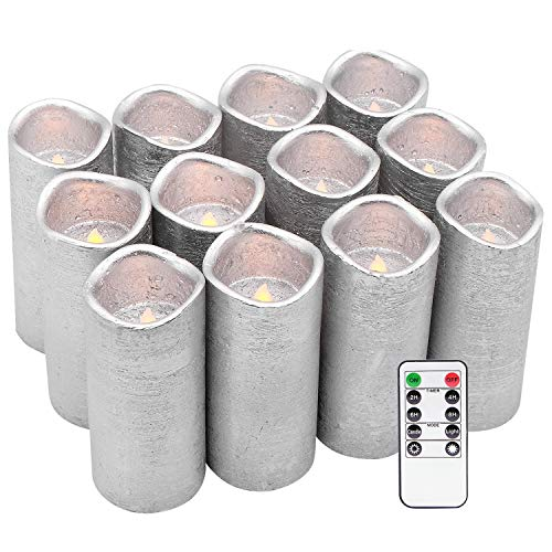 Eldnacele Flickering Flameless LED Candles 12 Pack with Timer and Remote Control, Silver Colored Textured Battery Candles Wax Elegant Decorationi for Tables Wedding Home (D2.2