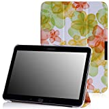 MoKo Samsung Galaxy Tab 4 10.1 / Tab 4 Nook 10.1 2014 Case - Slim Lightweight Smart-shell Stand Cover Case, Floral GREEN (With Smart Cover Auto Wake / Sleep. WILL NOT Fit Galaxy Tab 3 10.1)