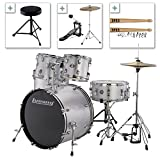 Ludwig Accent Drive Series LC175 Complete Drum Package with Cymbals, Hardware, Drum Throne, Chain-drive Pedal and Sticks (Silver Foil)