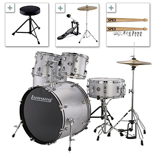 Ludwig Accent Drive Series LC175 Complete Drum Package with Cymbals, Hardware, Drum Throne, Chain-drive Pedal and Sticks (Silver Foil) ()