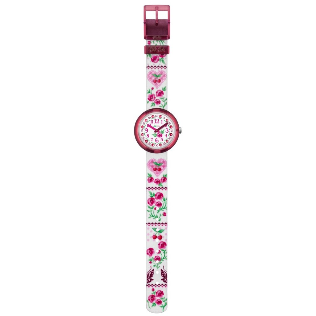 Flik Flak Fiorissima White Floral Dial Textile Strap Girls Watch ZFPNP007