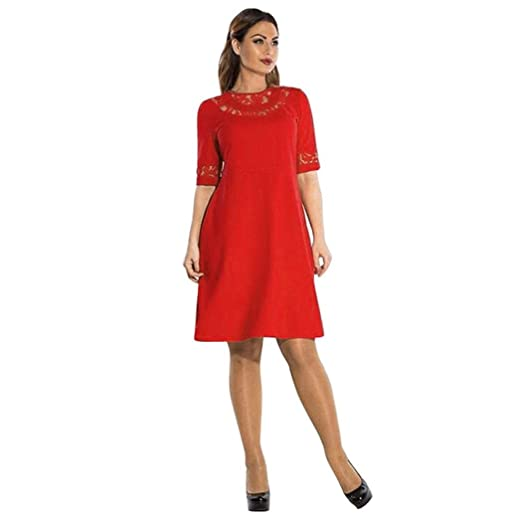 Plus-Size Formal Dress, Tosangn Womens Lace Formal Dress (L3, Red ...