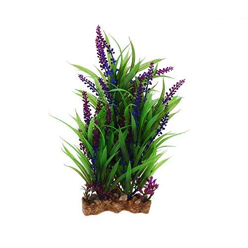 Jocestyle Aquarium Plastic Plants Artificial Grass for Fish Tank Decorations (Purple flower) ()