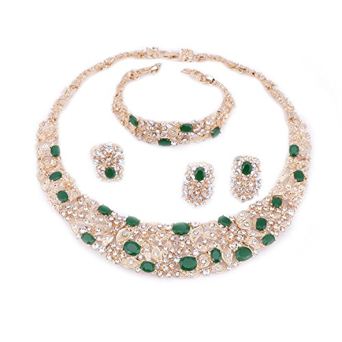OUHE Green Crystal Chain Necklace Ring Bracelet Jewelry Set Costume Show Wedding Gold ()