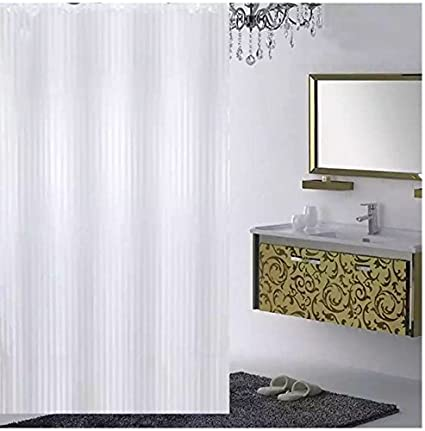 Ininsight Solutions Plain Strip Shower Curtain 7 Feet With Hooks Polyester Made Fabric Bombai Deinge