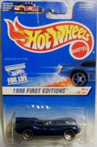Hot Wheels Blue Card - Hot Wheels 1998-638 First Edition BLUE CARD 6 of 48 Jaguar D-type 30 Years 1:64 Scale 1:64 Scale