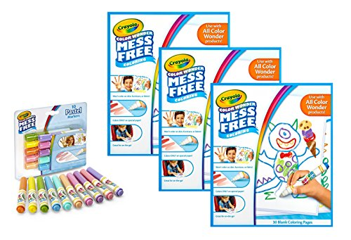 Crayola Color Wonder Drawing Paper, 90 Sheets, Bundled with Color Wonder Markers, Pastel, 10 -