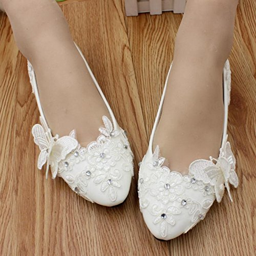 banquet Heel Bride handmade Wedding butterfly Shoes Summer bridesmaid amp; Rhinestones Si spring Flat customize Lace Height Women's Cn39 Party Flowers And SzxETT6w8q