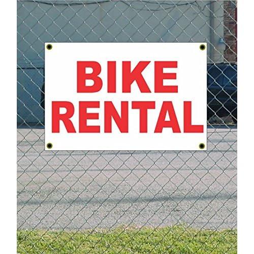Cheap BIKE RENTAL 2x3 White w/ Red Banner Sign 0mIgyS9o