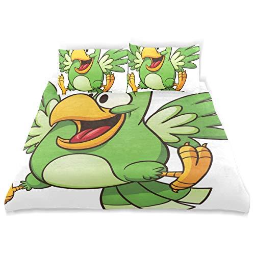 (BISHUO Cartoon Parrot Clip Art Duvet Cover Set Design Bedding Decoration King 3 PC Sets 1 Duvets Covers with 2 Pillowcase Microfiber Bedding Set Bedroom Decor Accessories)