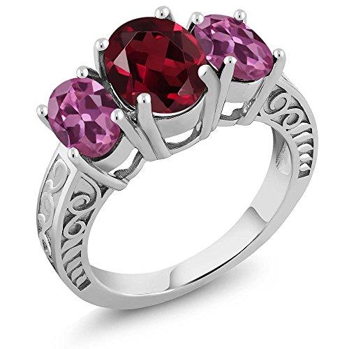 Silver Tourmaline Ring (3.90 Ct Oval Red Rhodolite Garnet Pink Tourmaline 925 Sterling Silver)