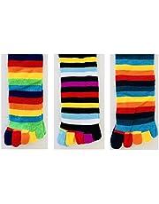 6 Pairs Men WOMEN GIRL KNEE HIGH TOE SOCKS Rainbow Stripe Party Costume Ball