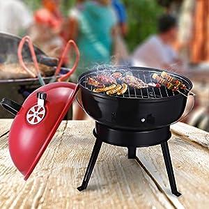 Outsunny Parrilla para Barbacoa de Carbón Portátil con Mango Ahumador Pequeño de Hierro Esmaltado con 3 Patas Antideslizantes Ф36.5x54cm