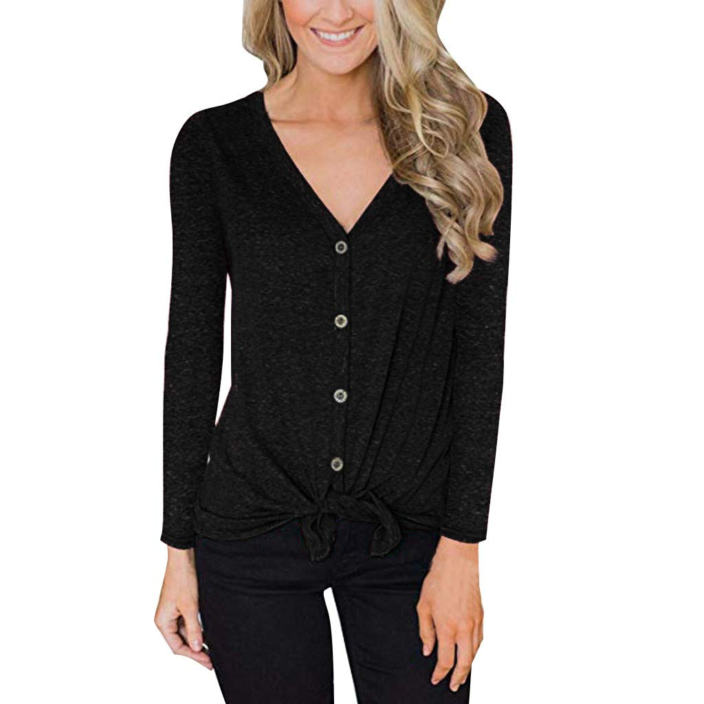 OFEFAN Womens Tie Front Button Down Shirts Summer Long Sleeve Tank Tops Green