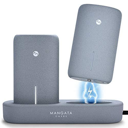 Mangata Orbit [Power-Bank 10000-mAh Portable Charger] Wireless Charging Station   2-Pack 5000 mAh Fast Charge Battery…