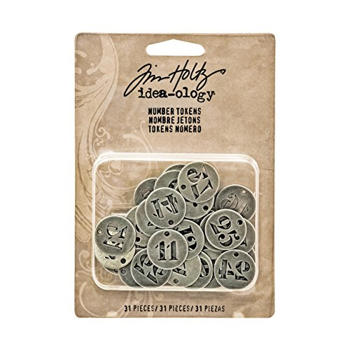 Idea-Ology Metal Number Tokens .75 31/Pkg-Antique Silver