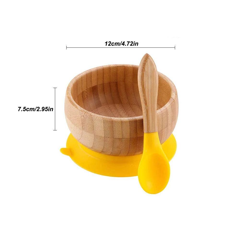 L/öffel Bambussch/üssel L/öffel eingestellt 1 Geschirr Destinely Baby Breischale Baby Sch/üssel aus Bambus Baby Saugnapf-Teller mit rutschfestem Saugnapf 1 Futterschale