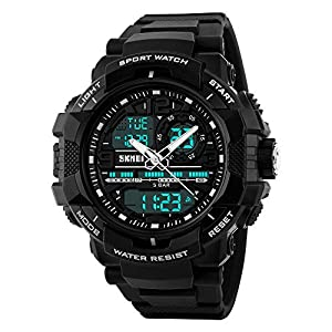 SKMEI Analogue – Digital Men's Watch (Black Dial Black Colored Strap)