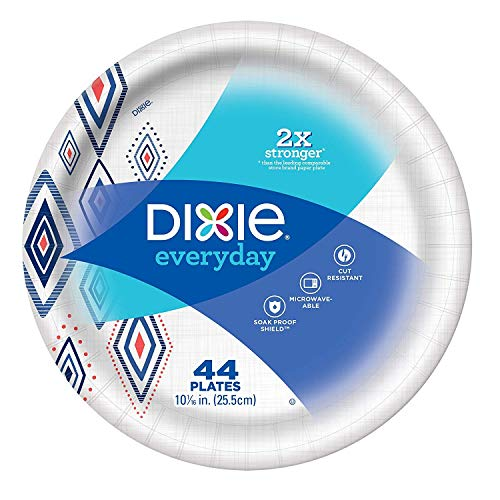 """Dixie Everyday Paper Plates,10 1/16"""" Plate, 220 Count, Amazon Exclusive Design, 5 Packs of 44 Plates, Dinner Size Printed Disposable Plates (2 Pack)"""