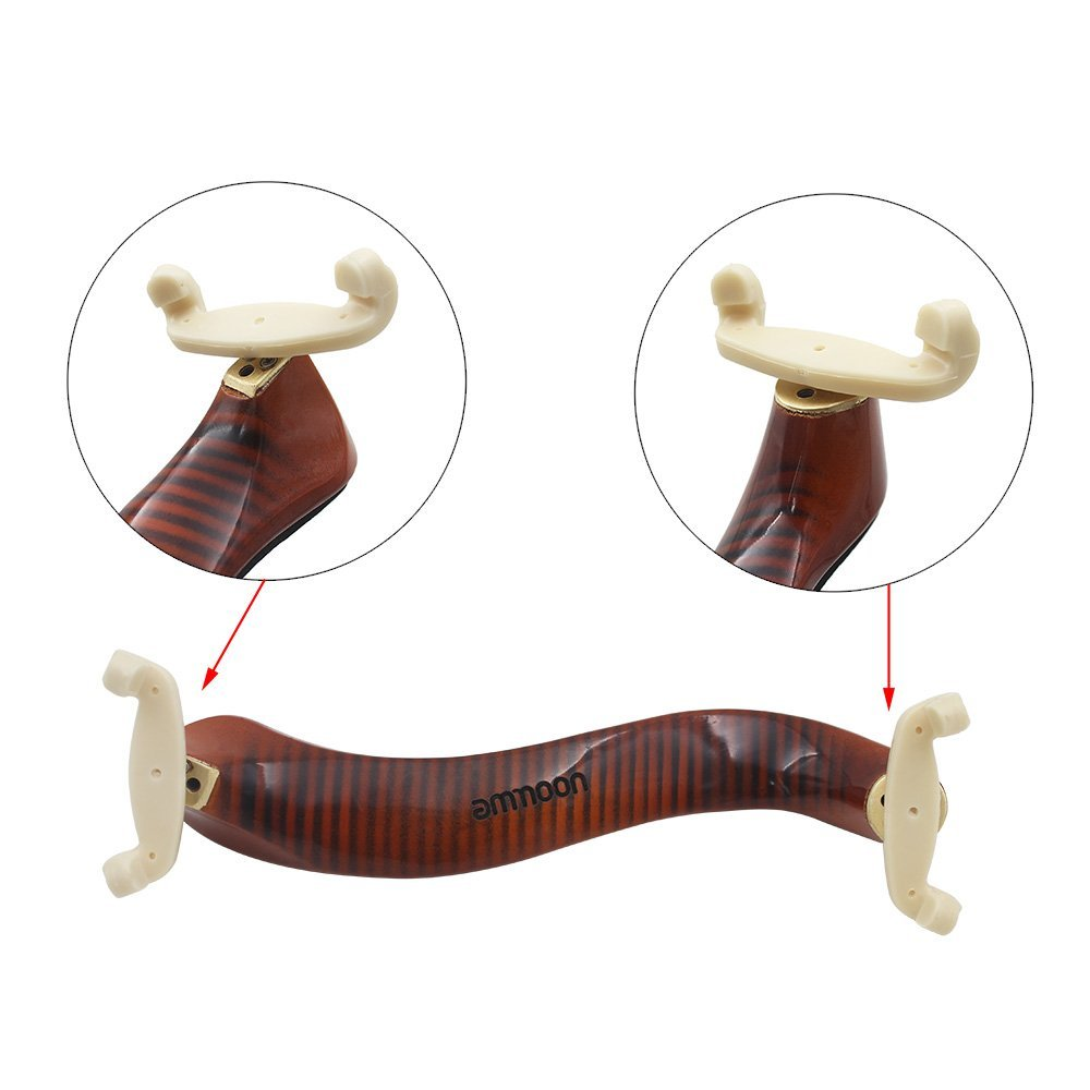 ammoon Violin Shoulder Rest Maple Wood for 3/4 4/4 Violin Fiddle with Cleaning Cloth