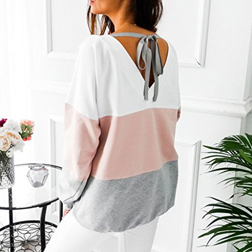 Ray Pink Chemise Manches Casual Sex Chemisier Tajie Hauts Dentelle Backless Automne Femmes Mode Longues Lady q4yFxTa