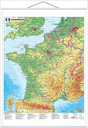 Frankreich Physisch 1 1 500 000 Wandkarte Mit Metallbeleistung
