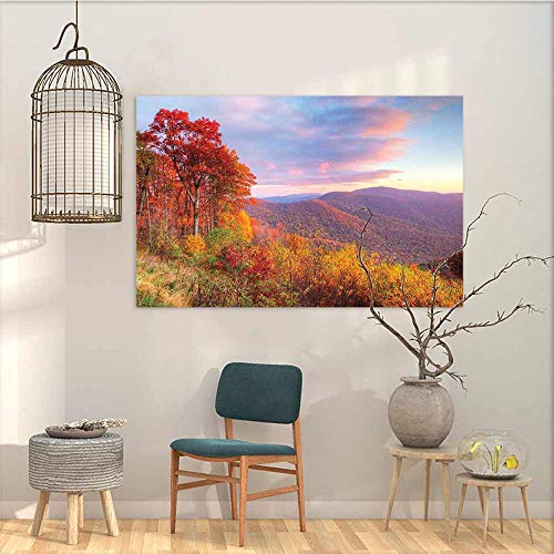 (Oil Painting Modern Wall Art Posters Sticker Mountain Sunrise Stunning Sky Colors Autumn Falls at South Western Village Scenery for Living Room,Dinning Room, Bedroom Orange Blue Green W35 xL31)