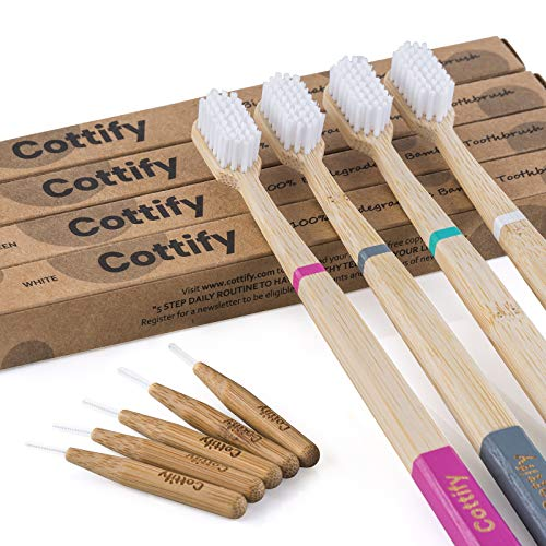 Cottify Pack de 4 Brosses à Dents en Bambou Biologique avec 10 Brossettes Interdentaires/Poils Souples sans BPA/Biodegradable/Vegan/Brosse à Dents écologique/Pratique / 4 Coloris