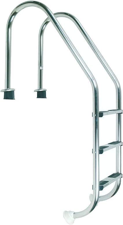 well2wellness® Escalera de Acero Inoxidable, V2 A, 43 mm, Mango Curvado, 3 peldaños: Amazon.es: Jardín