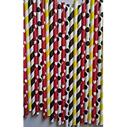 100 premium paper drink straws Mickey mouse theme party can be use for cake pop stick by ETL Products